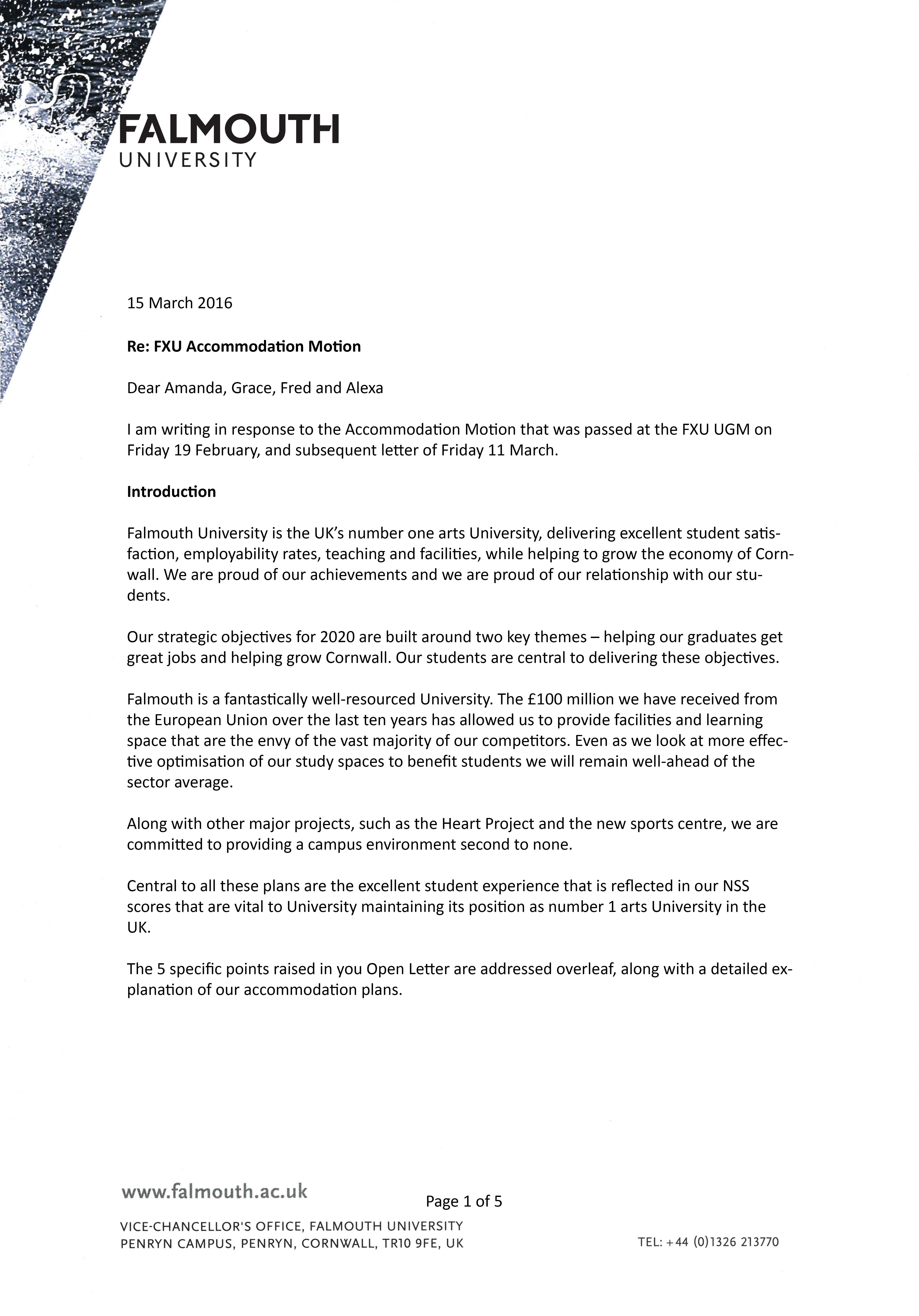 open letter and university responses please feel to the letters and let us know how you feel about both universities response by emailing us your views to studentvoice fxu org uk