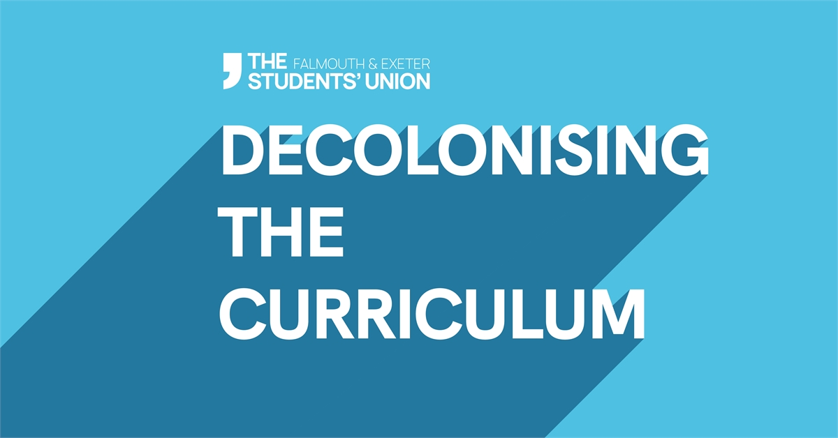 """Decolonising the Curriculum"" in bold white text over a bright blue background."