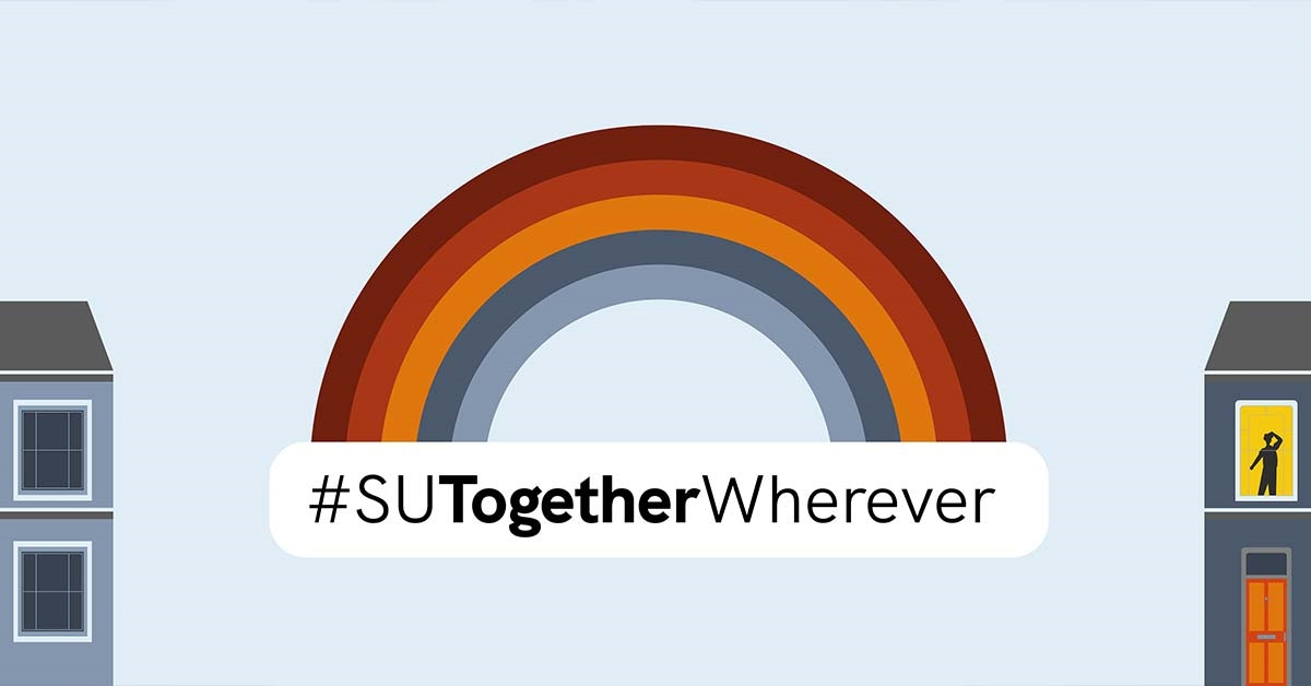 #SUTogetherForever with a graphical rainbow and houses