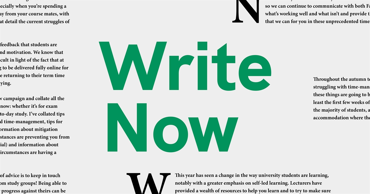 """Write Now"" in bold green text, with sections of Cara's campaign rationale in the background in newspaper style."