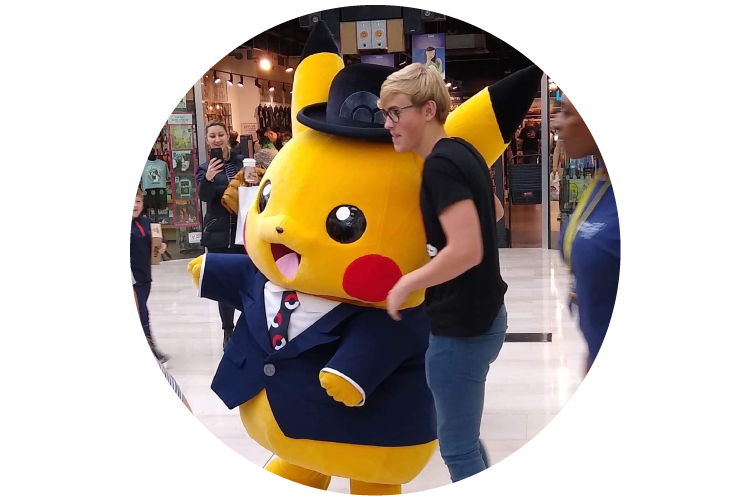 Photo of someone with a pokemon character