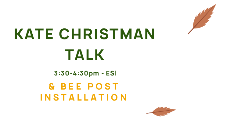 Kate Christman Talk and Bee Post Installation, 3:30-4:30pm, ESI